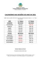 CALENDÁRIO DAS SESSÕES ORDINÁRIAS 2021 DA CÂMARA MUNICIPAL DE CARNAUBAL-CE